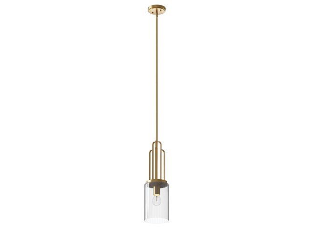 Kimrose™ 1 Light Mini Pendant with Clear Fluted Glass Brushed Natural Brass