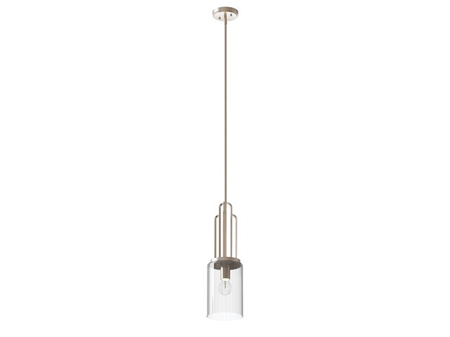 Kimrose™ 1 Light Mini Pendant with Clear Fluted Glass Polished Nickel