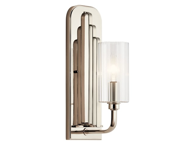 Kimrose™ 1 Light Wall Sconce with Clear Fluted Glass Polished Nickel and Satin Nickel