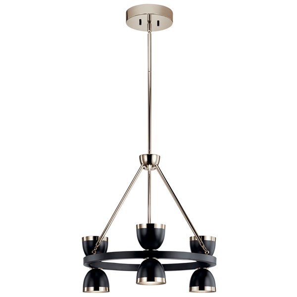 "Baland™ LED 22"" 6 Light Chandelier Black and Polished Nickel"
