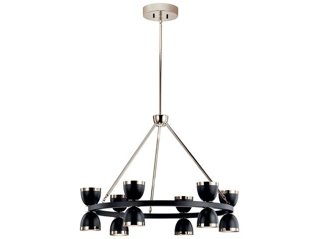 "Baland™ LED 31"" 12 Light Chandelier Black and Polished Nickel"