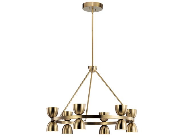 "Baland™ LED 31"" 12 Light Chandelier Brushed Natural Brass"