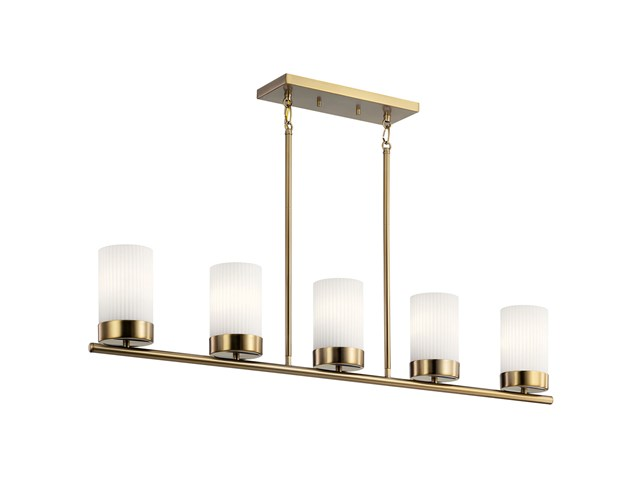 "Ciona™ 43"" 5 Light Linear Chandelier with Round Ribbed Glass Brushed Natural Brass"
