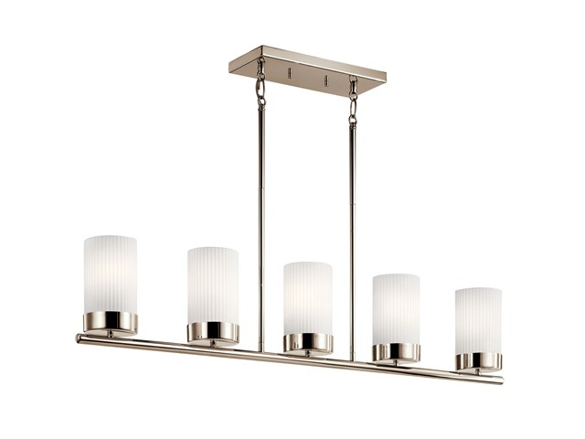 "Ciona™ 43"" 5 Light Linear Chandelier with Round Ribbed Glass Polished Nickel"