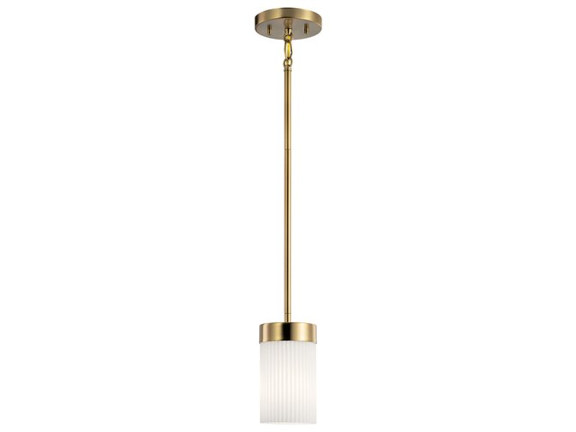 "Ciona™ 4"" 1 Light Mini Pendant with Round Ribbed Glass Brushed Natural Brass"