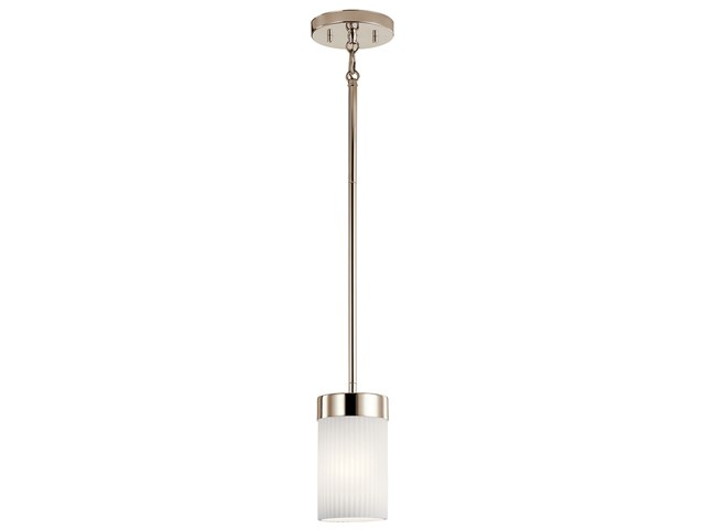 "Ciona™ 4"" 1 Light Mini Pendant with Round Ribbed Glass Polished Nickel"