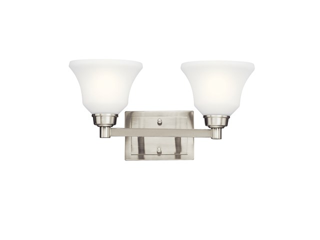 Langford™ 2 Light Vanity Light with LED Bulbs Brushed Nickel