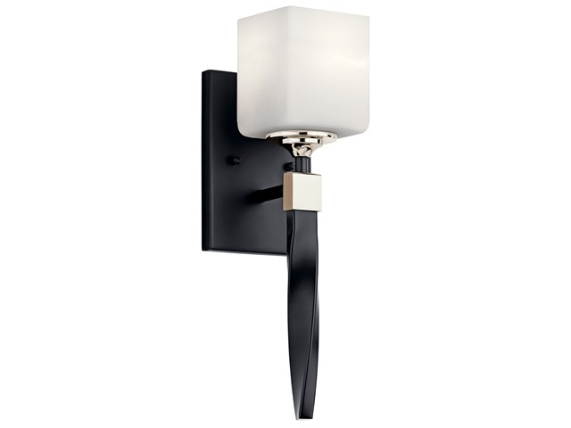 "Marette™ 5"" 1 Light Wall Sconce with Satin Etched Cased Opal Glass Black"