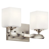 "Marette™ 13.5 "" 2 Light Vanity Light with Satin Etched Cased Opal Glass Brushed Nickel"