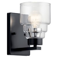 "Vionnet™ 8.5"" 1 Light Wall Sconce with Clear Glass Black"