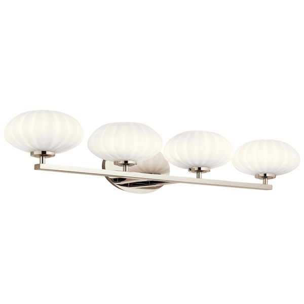 "Pim™ 34"" 4 Light Vanity Light with Satin Etched Cased Opal Glass Polished Nickel"