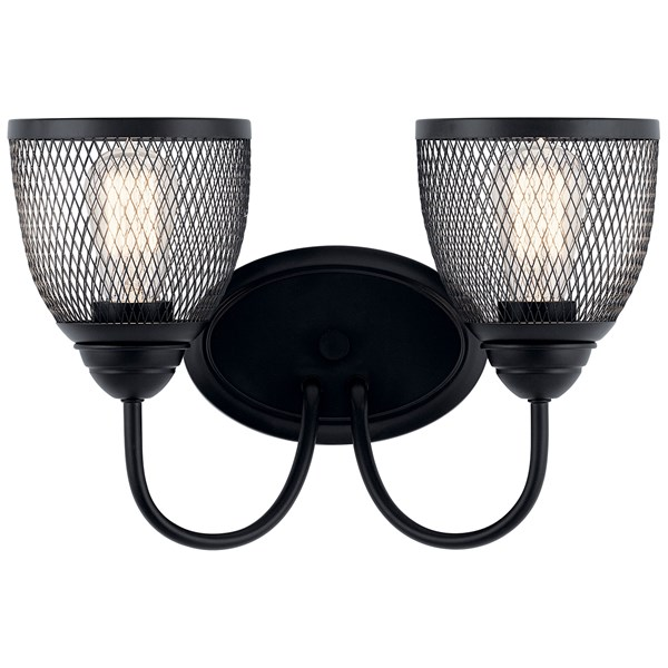 "Voclain™ 16"" 2 Light Vanity Light with Mesh Shade Black"