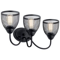 "Voclain™ 24"" 3 Light Vanity Light with Mesh Shade Black"