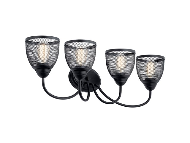 "Voclain™ 32"" 4 Light Vanity Light with Mesh Shade Black"