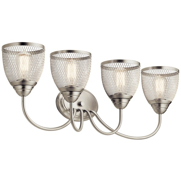 "Voclain™ 32"" 4 Light Vanity Light with Mesh Shade Brushed Nickel"
