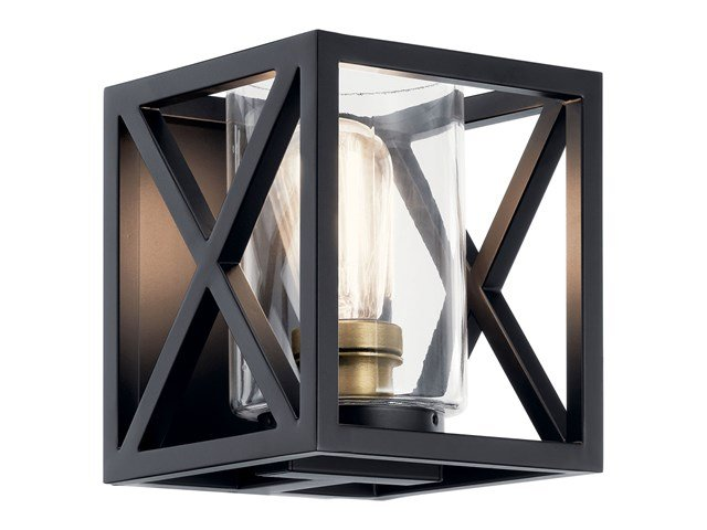"Moorgate™ 7"" 1 Light Wall Sconce with Clear Glass Black"