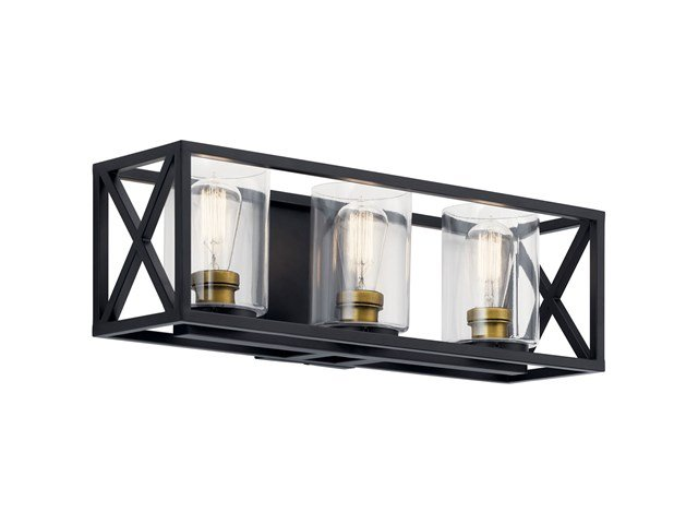 "Moorgate™ 23"" 3 Light Vanity Light with Clear Glass Black"
