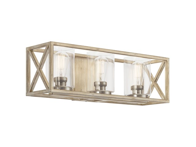 Moorgate™ 3 Light Vanity Light with Clear Glass Distressed Antique White