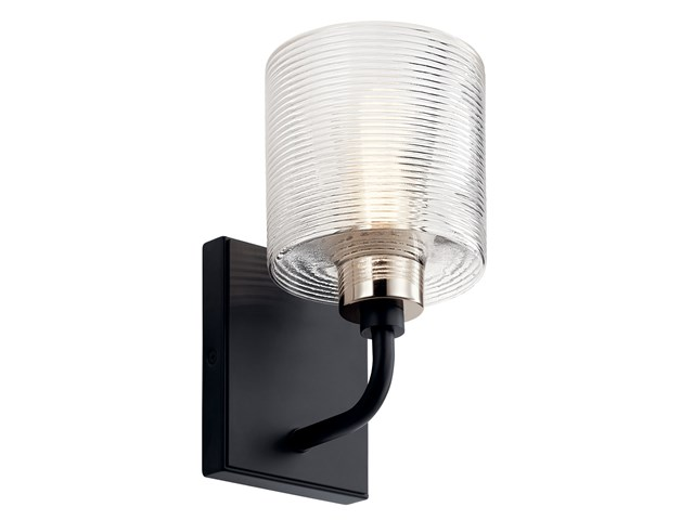 "Harvan™ 9.25"" 1 Light Wall Sconce with Clear Ribbed Glass Black"