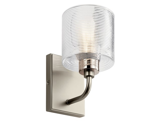 "Harvan™ 9.25"" 1 Light Wall Sconce with Clear Ribbed Glass Satin Nickel"