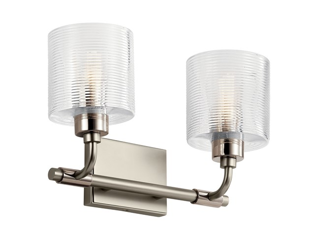 "Harvan™ 15"" 2 Light Vanity Light with Clear Ribbed Glass Satin Nickel"