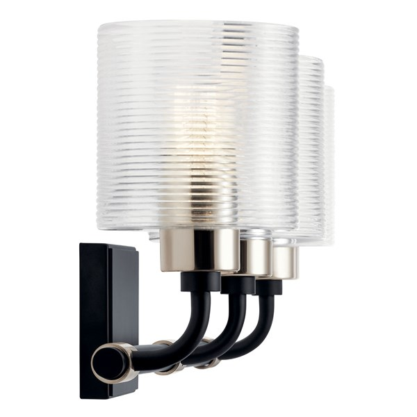 "Harvan™ 25"" 3 Light Vanity Light with Clear Ribbed Glass Black"