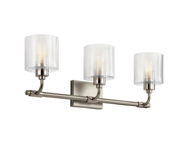 "Harvan™ 25"" 3 Light Vanity Light with Clear Ribbed Glass Satin Nickel"