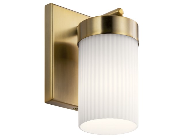 "Ciona™ 9"" 1 Light Wall Sconce with Round Ribbed Glass Brushed Natural Brass"
