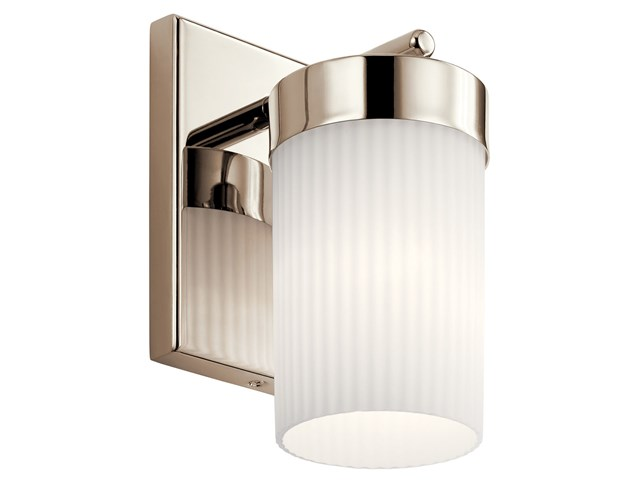 "Ciona™ 9"" 1 Light Wall Sconce with Round Ribbed Glass Polished Nickel"