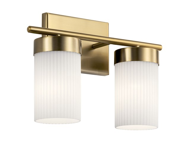 "Ciona™ 14.5"" 2 Light Vanity Light with Round Ribbed Glass Brushed Natural Brass"