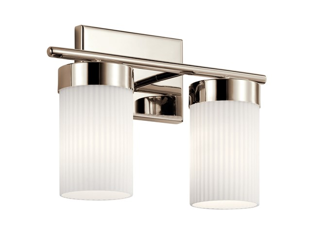"Ciona™ 14.5"" 2 Light Vanity Light with Round Ribbed Glass Polished Nickel"