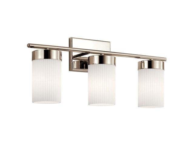 "Ciona™ 24"" 3 Light Vanity Light with Round Ribbed Glass Polished Nickel"