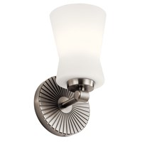 "Brianne™ 9.5"" 1 Light Wall Sconce with Satin Etched Cased Opal Glass  Classic Pewter"