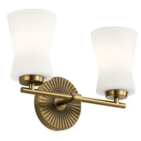 "Brianne™ 14.5"" 2 Light Vanity Light with Satin Etched Cased Opal Glass Brushed Natural Brass"