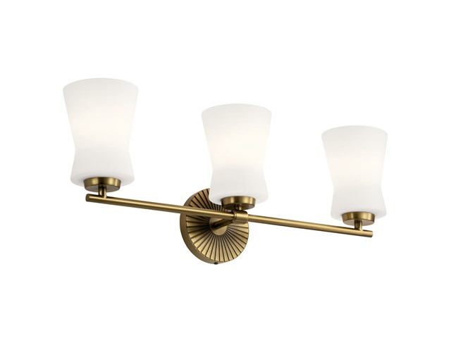 "Brianne™ 24.5"" 3 Light Vanity Light with Satin Etched Cased Opal Glass Brushed Natural Brass"