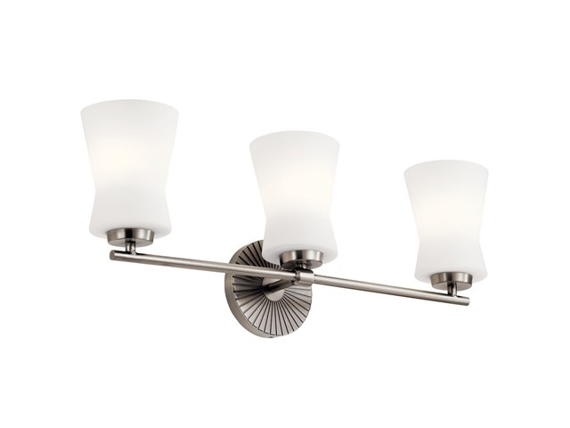 "Brianne™ 24.5"" 3 Light Vanity Light with Satin Etched Cased Opal Glass  Classic Pewter"