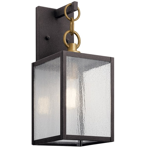 "Lahden™ 12"" 1 Light Outdoor Wall Light with Clear Seeded Glass Weathered Zinc"