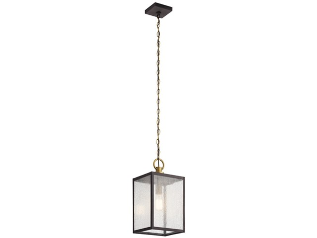 "Lahden™ 17.25"" 1 Light Outdoor Convertible Pendant/Semi Flush with Clear Seeded Glass Weathered Zinc"