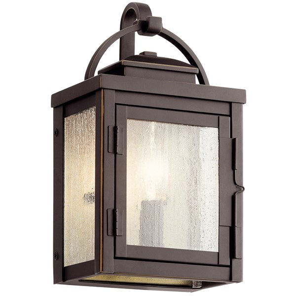 "Carlson™ 11"" 1 Light Outdoor Wall Light with Clear Seeded Glass Rubbed Bronze"