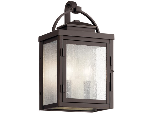 "Carlson™ 14.75"" 2 Light Outdoor Wall Light with Clear Seeded Glass Rubbed Bronze"