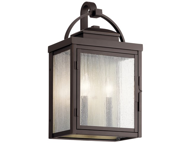 "Carlson™ 18.25"" 2 Light Outdoor Wall Light with Clear Seeded Glass Rubbed Bronze"