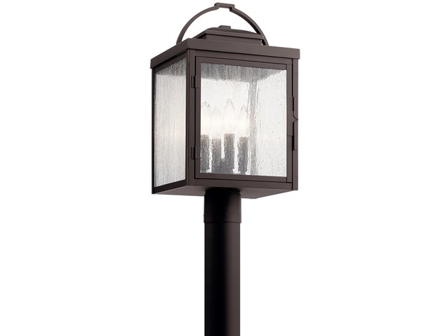 "Carlson™ 19.5"" 4 Light Post Light with Clear Seeded Glass Rubbed Bronze"