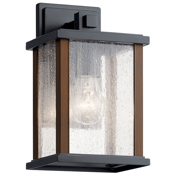 "Marimount™ 11"" 1 Light Outdoor Wall Light with Clear Ribbed Glass Black"