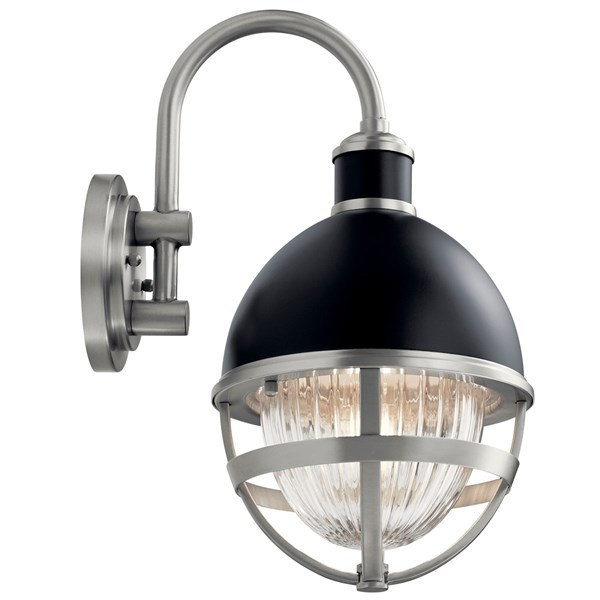Tollis™ 15.25 inch 1 Light Wall Light with Clear Ribbed Glass in Black and Brushed Nickel