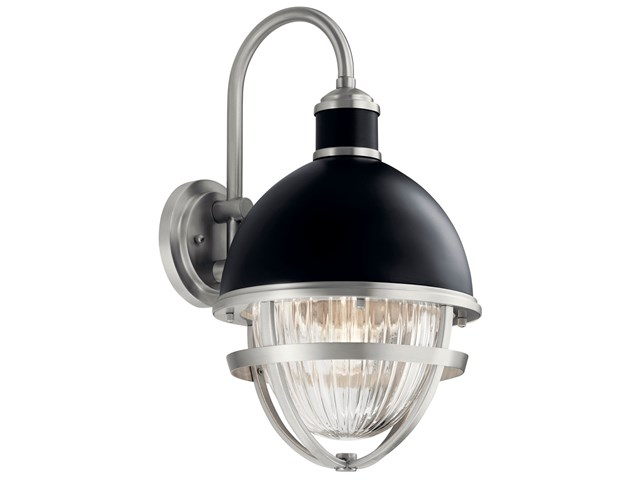 Tollis™ 18.50 inch 1 Light Wall Light with Clear Ribbed Glass in Black and Brushed Nickel