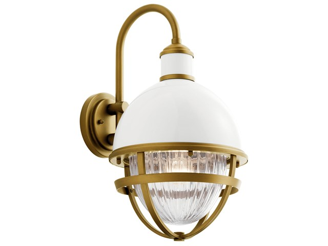 Tollis™ 18.50 inch 1 Light Wall Light with Clear Ribbed Glass in White and Natural Brass