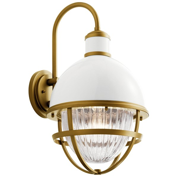 Tollis™ 22.25 inch 1 Light Wall Light with Clear Ribbed Glass in White and Natural Brass