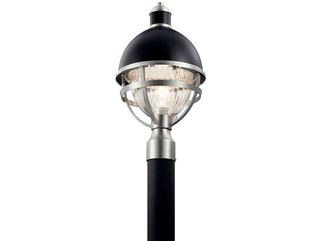 "Tollis™ 18"" 1 Light Post Light with Clear Ribbed Glass Black and Brushed Nickel"