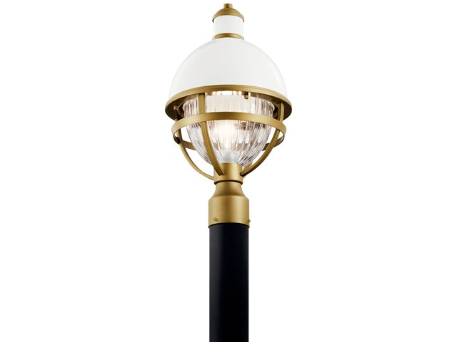 "Tollis™ 18"" 1 Light Post Light with Clear Ribbed Glass White and Natural Brass"