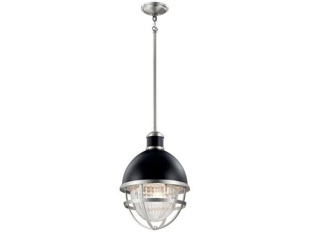 Tollis 18 inch 1 Light Hanging Pendant with Clear Ribbed Glass in Black and Brushed Nickel